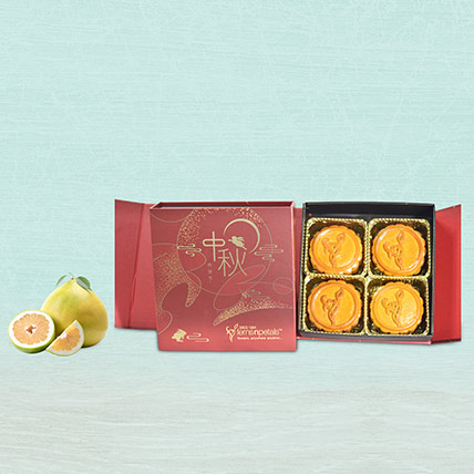 Pure Lotus Paste Mooncake With 3 Pcs Pomelo: Mid Autumn Gifts