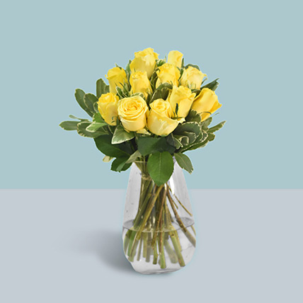 Vase Of Sunshine Yellow Roses: Yellow Floral Bouquet
