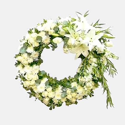 Everlasting White Floral Arrangement: Sympathy and Condolence Flowers
