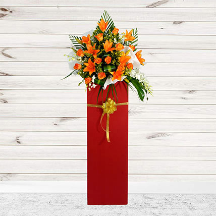 Vibrant Mixed Flowers Cardboard Stand: Grand Opening Flower Stand Singapore