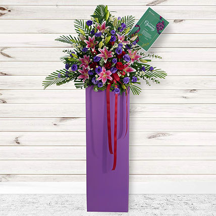 Blissful Mixed Flowers Cardboard Stand: Best Selling Flowers