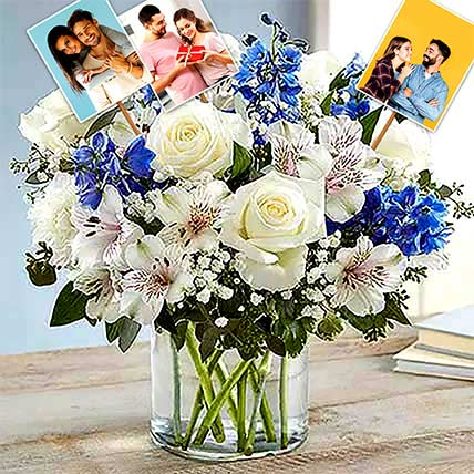 Personalised Blue And White Floral Bunch: Personalised Gifts for Him