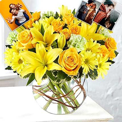 Personalised Happy Flowers In Bowl Arrangement: Anniversary Flowers