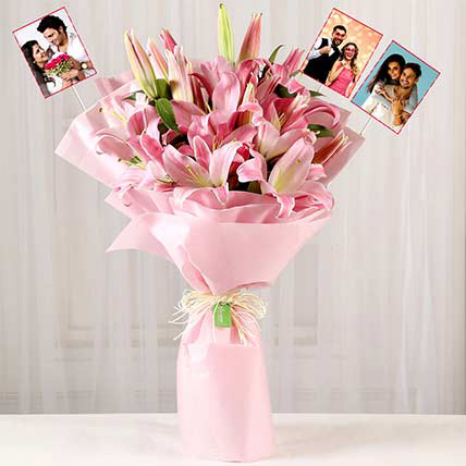 Personalised Passionate Oriental Pink Lilies: Best Selling Flowers