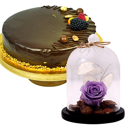 Purple Forever Rose In Glass Dome & Chocolate Cake: Forever Roses
