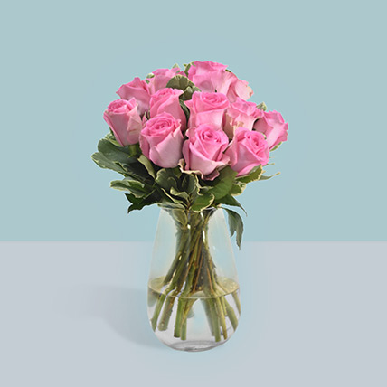 Vase Of Delicate Pink Roses: Flower Arrangements