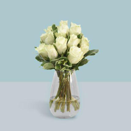 Vase Of Elegant White Roses: Funeral Flowers