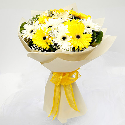White and Yellow Gerbera Bouquet: Gerbera Flowers