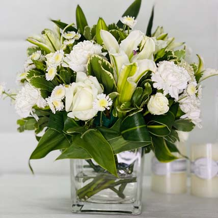 White Beauty: Mixed Flowers Bouquet