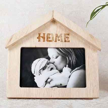 Wooden Home Shaped Frame: Personalised Gifts Singapore