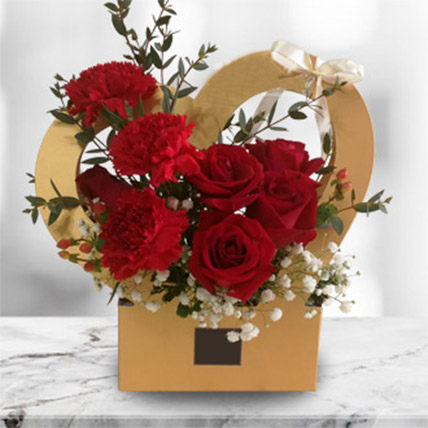 Love Flower Box Arrangement of Roses & Carnations: Flowers To Malaysia