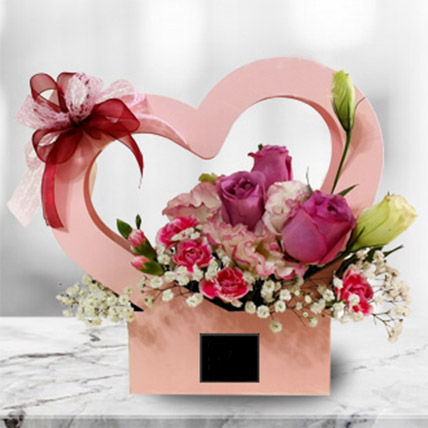 Love Flower Box Arrangement of Roses & Eustomas: Flower Delivery Malaysia