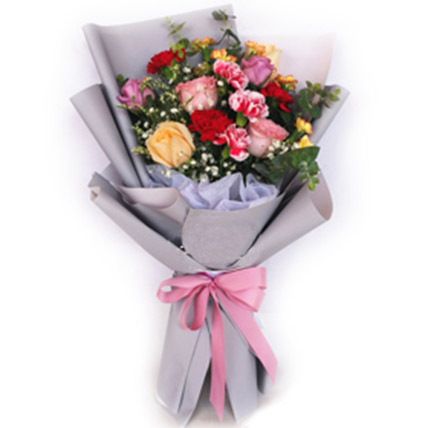 Mixed Roses & Carnations Bouquet: Flowers To Malaysia