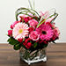 Pink Flowers Bunch In Glass Vase