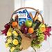 Fruits Basket Hamper With Roses Bouquet