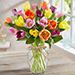 20 Mixed Tulips In Glass Vase