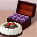 8 Purple Forever Roses in Treasure Box & Black Forest Cake