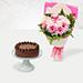 Pink Gerbera Bouquet & Chocolate Brownie Cake