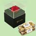 Forever Red Rose With Black Box & Ferrero Rocher