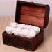 White Forever Roses In Wooden Box