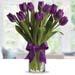 30 Purple Tulip in glass Vase
