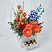 Premium Mixed Flowers Box Arrangement With Ferrero Rocher