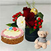Box of Roses With Teddy and Cake