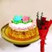 Butter Sponge Cake With 3 Red Roses Bouquet
