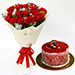 20 Timeless Red Roses Bouquet With Mini Cheesecake