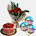 Red Roses Bouquet With Cake and Balloons