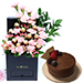Affairs Of Hearts Arrangement With Chocolate Cake