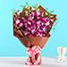 Six Exotic Purple Orchids Bouquet