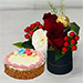 Box of Roses With Mini Cheesecake