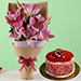 Oriental Pink Lilies Bunch with Mini Cheese Cake