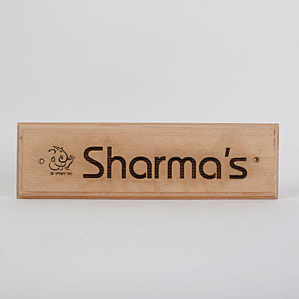 wooden personalised name plate