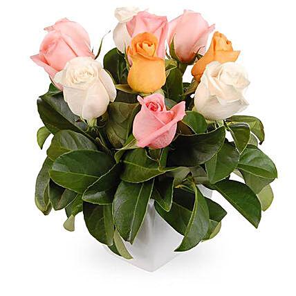 Box Arrangement of Mixed Pastel Roses & Viburnum