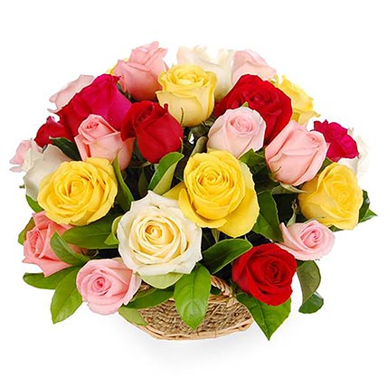 Colourful Mixed Rose In A Basket