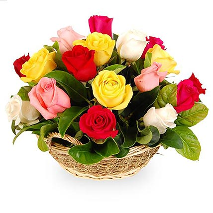 Mixed Stunning Roses In A Basket