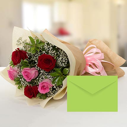 Attractive Roses Bouquet With Greeting Card BH