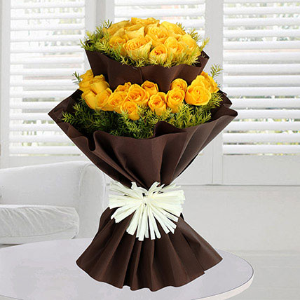 Double Layer 40 Yellow Roses Bunch