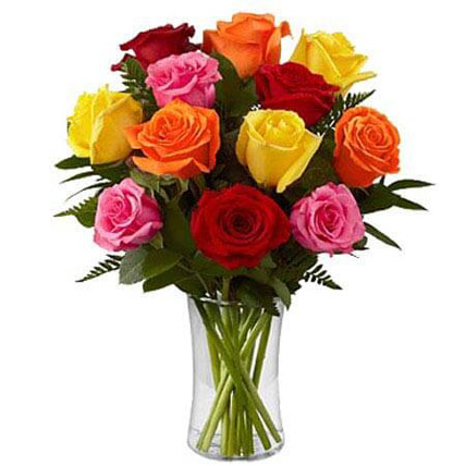 Dozen Mix Roses in a Glass BH