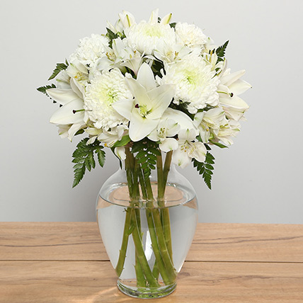 Mix White Flowers In Vase