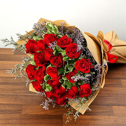 Stylish 20 Red Roses Bunch