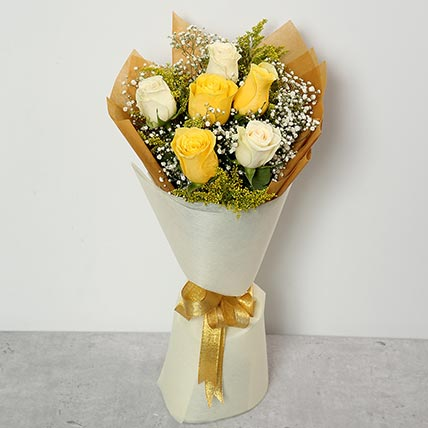 White and Yellow Roses Bouquet BH
