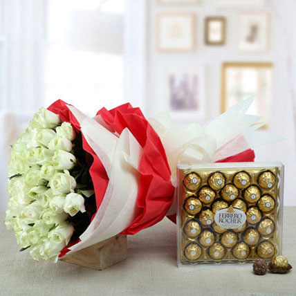White Roses Bunch With Ferrero Rocher