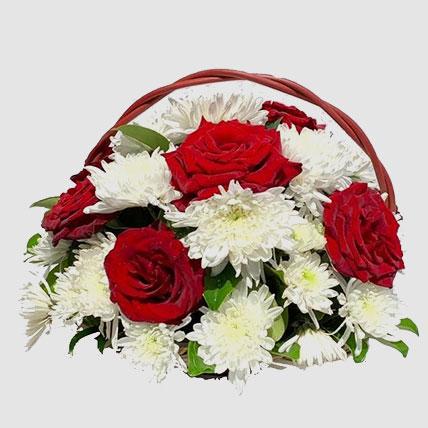 Blooming Flowers In Basket