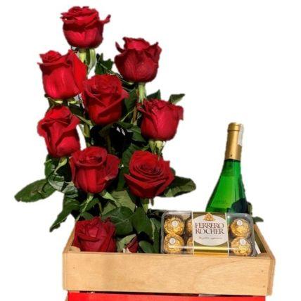 Red Rose Arrangement & Red Wine Luxurious Hamper