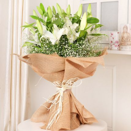 Lovely White Lilies Bouquet