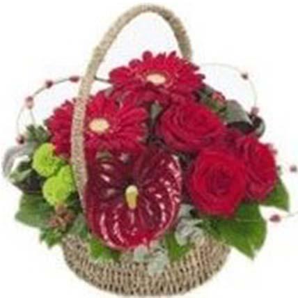 Basket Arrangement of Roses & Anthuriums