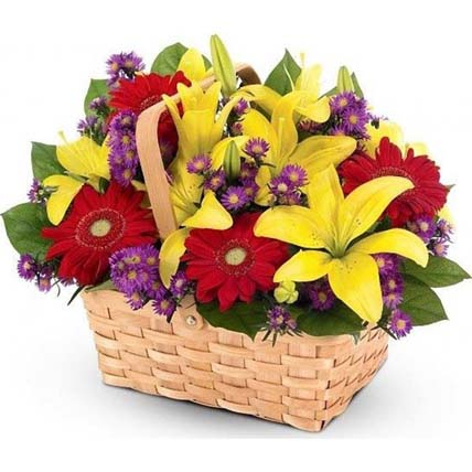 Elegant Basket Arrangement of Mixed Flowers